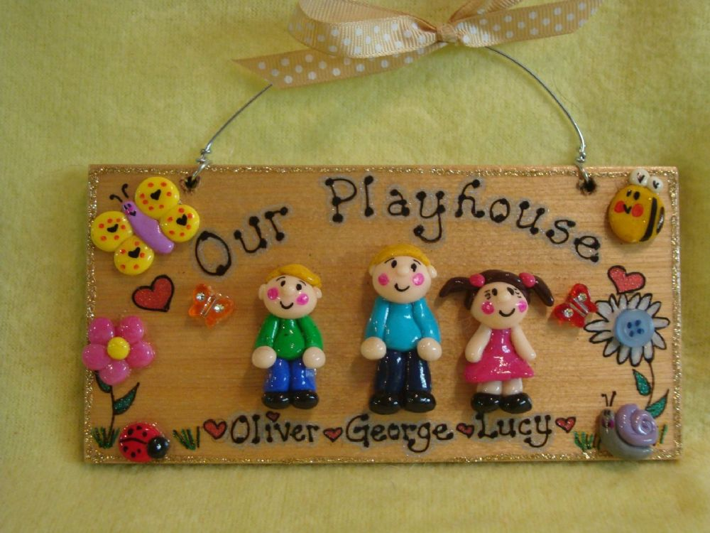 3d 3 Character Personalised Bedroom Playroom Wendyhouse Playhouse Garden House Family Plaque Sign
